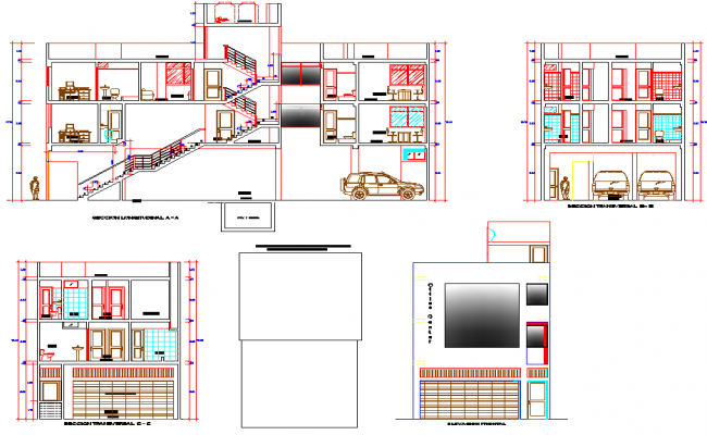 Elevation and section accounting office plan detail dwg file