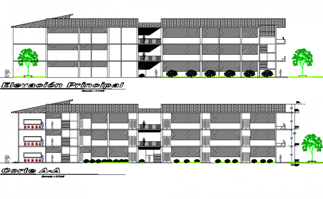 Elevation and section building engineering detail dwg file