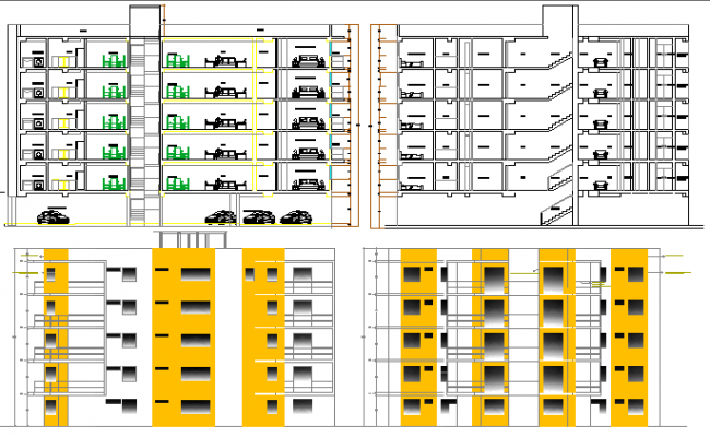 Elevation and section detailing of multi-flooring housing building dwg file