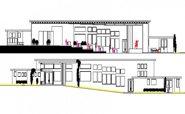 elevation and section details of art gallery with theaters