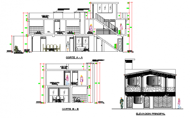 Elevation and section home plan detail layout file