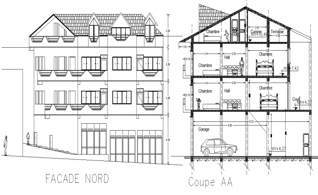 Elevation and section home plan layout file