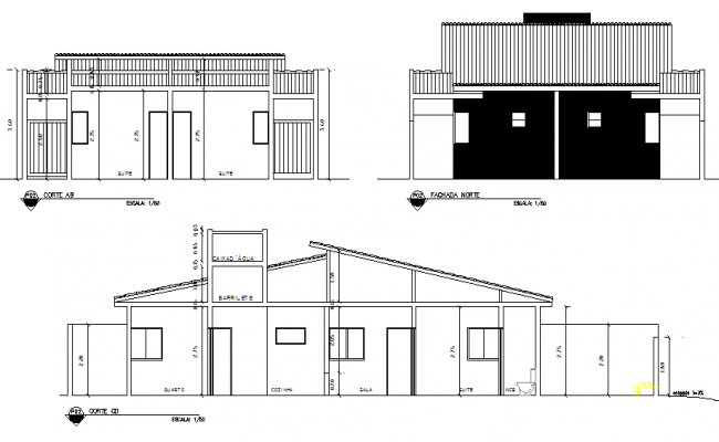 Elevation and section house dwg file