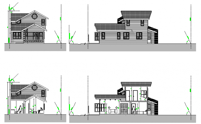 Elevation and section house layout file
