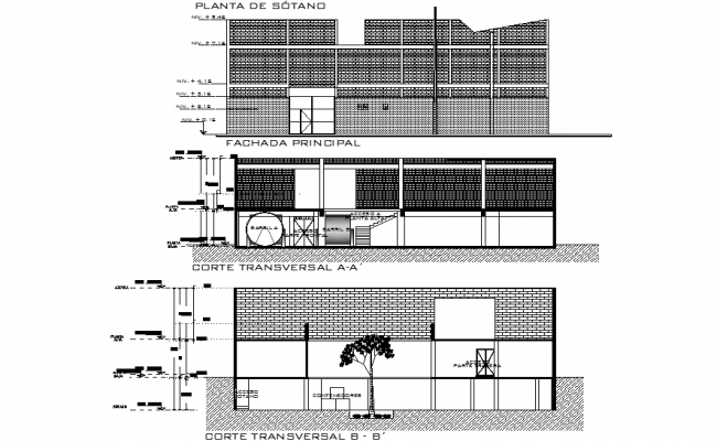 Elevation and section house of culture plan autocad file