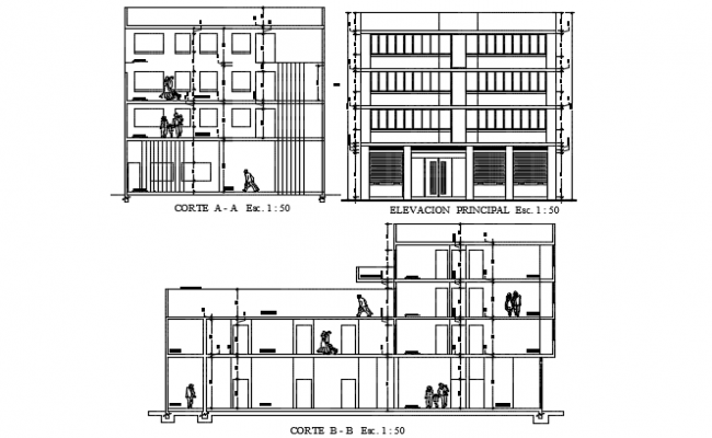 Elevation and section house plan detail dwg file