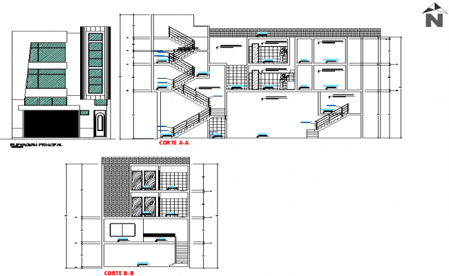 Elevation and section house planning detail dwg file