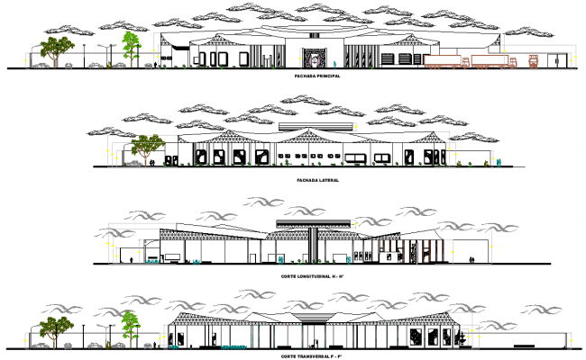 Elevation and section industrial plant detail dwg file