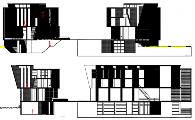 Elevation and section library plan detail dwg file