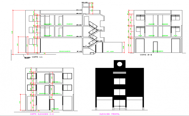 Elevation and section living place autocad file