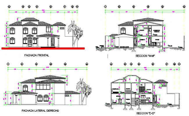 Elevation and section living place plan detail dwg file