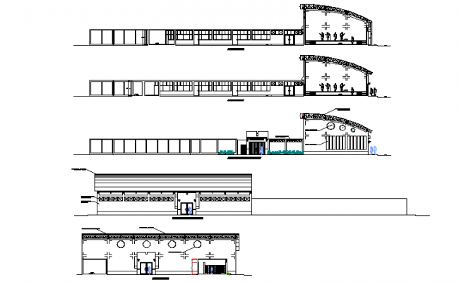 Elevation and section local community detail dwg file