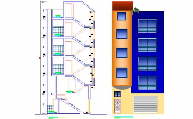 Elevation and section office building plan detail dwg file