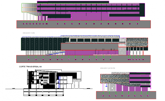 Elevation and section office plan detail dwg file