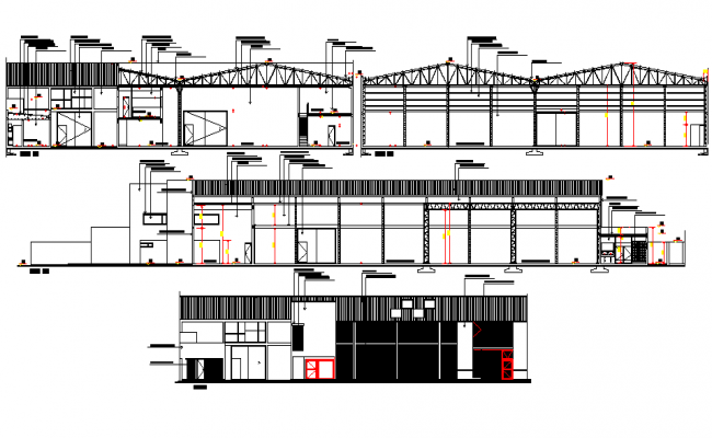 Elevation and section packing box assembly factory plan detail