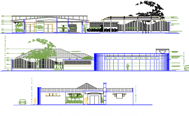 Elevation and section plan Remodeling cultural center detail dwg file
