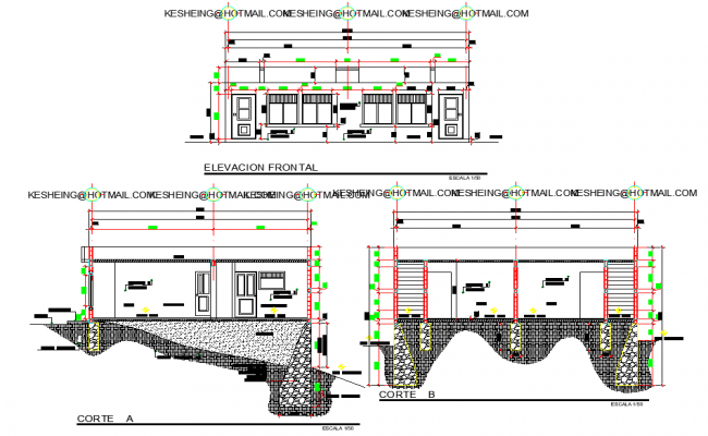 Elevation and section plan apartment detail dwg file