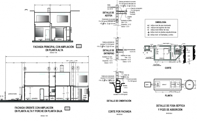 Elevation and section plan detail dwg file