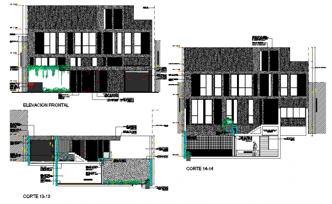 Elevation and section residence home plan dwg file