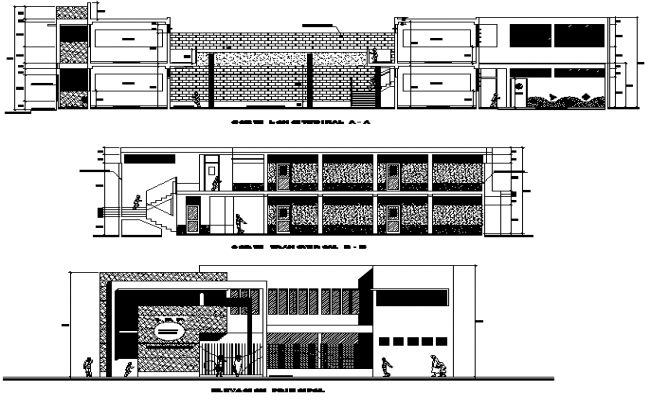 Elevation and section school plan detail dwg file
