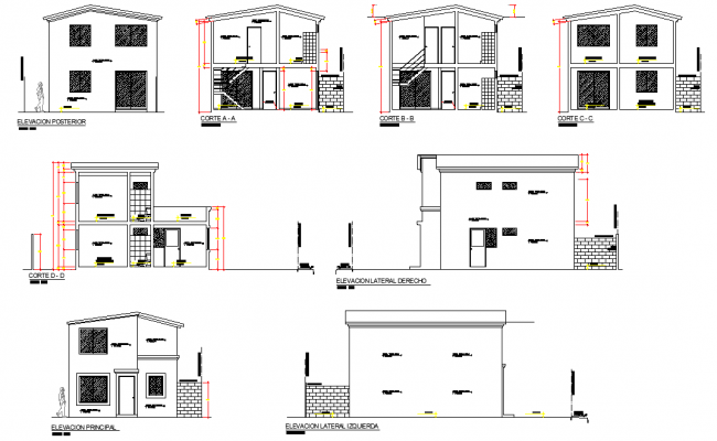 Elevation and section single family home plan autocad file