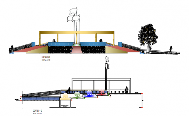 Elevation and section sitting area detail dwg file