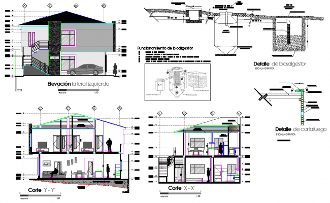 Elevation and section story house dwg file