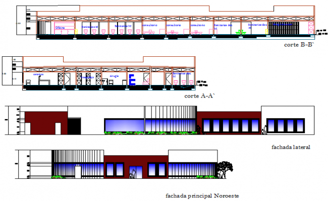 Elevation and section veterinary clinic detail dwg file