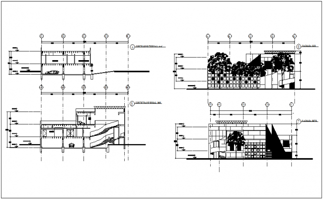 Elevation and section view for clinic dwg file