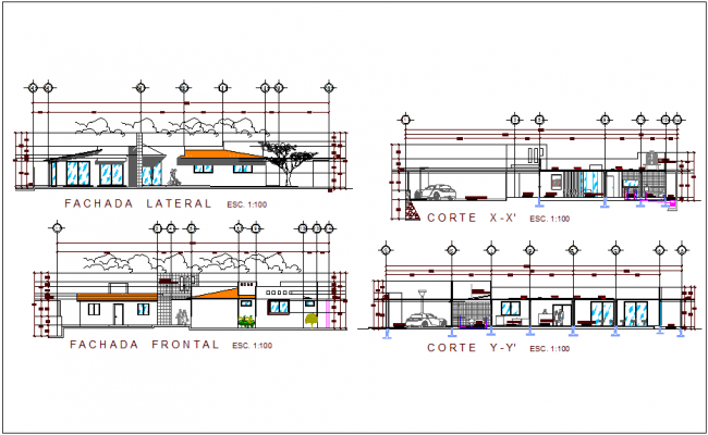 Elevation and section view for clinic of rural area dwg file
