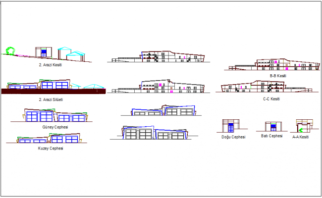 Elevation and section view for hospital building dwg file