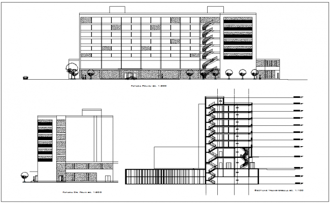 Elevation and section view for hotel building dwg file