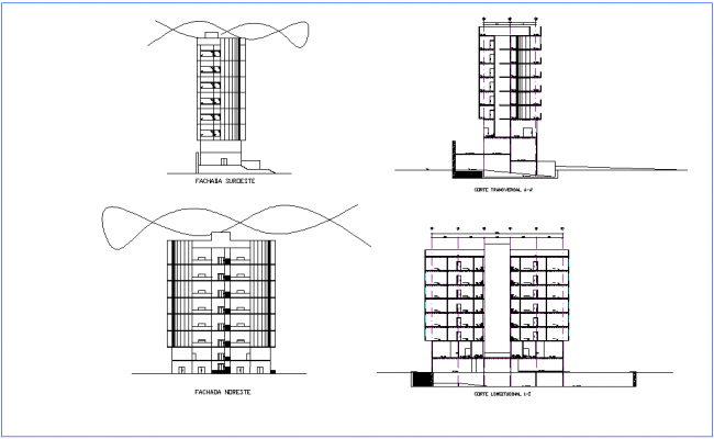 Elevation and section view for office building dwg file