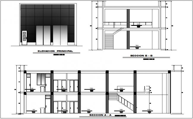 Elevation and section view for plan of commercial  building dwg file