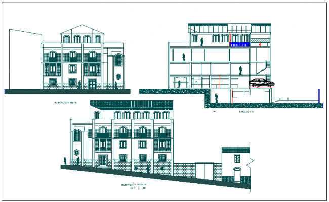 Elevation and section view of bungalows dwg file