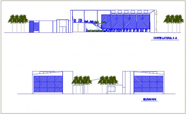 Elevation and section view of club house dwg file