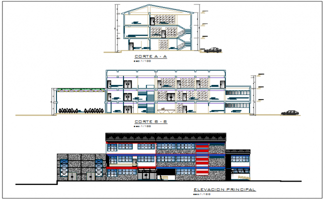 Elevation and section view of government building dwg file