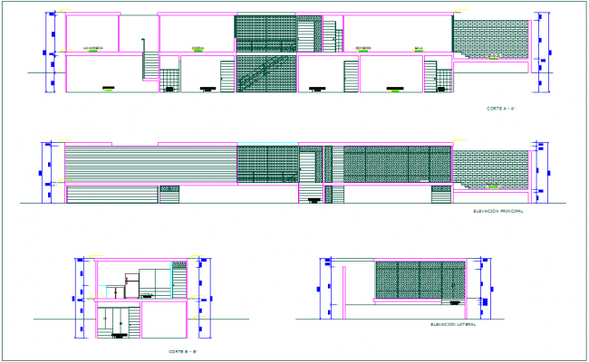 Elevation and section view of home dwg file