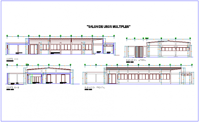 Elevation and section view of multi purpose use room dwg file