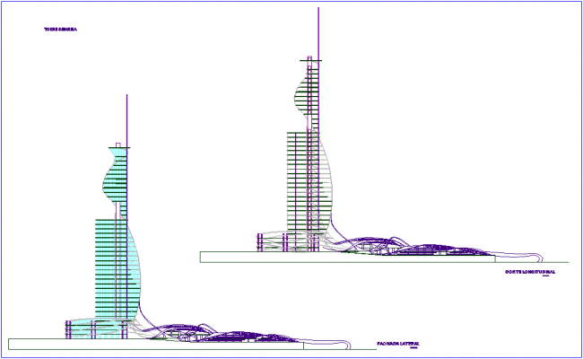 Elevation and section view of tower dwg file