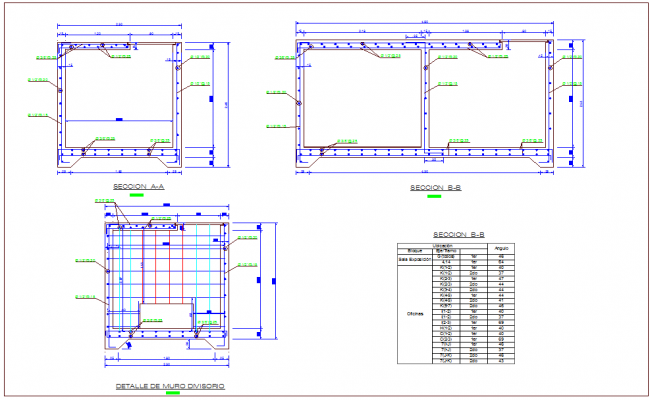 Elevation and section view structure dwg file
