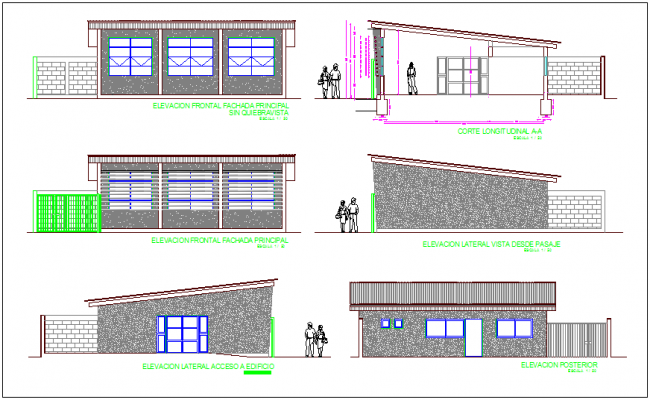 Elevation and section view with different axis of social head office dwg file