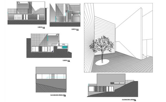 Elevation and section view with isometric view for residential area dwg file