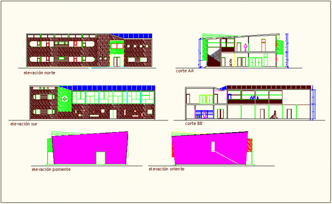 Elevation and section with different axis of education center dwg file