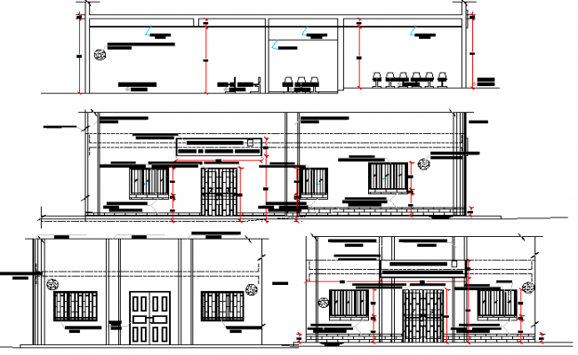 Elevation and sectional details of sat-urbane center corporate office dwg file