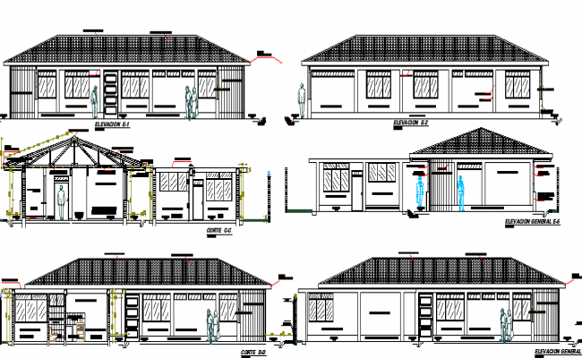Elevation and sectional plan of city health post project dwg file