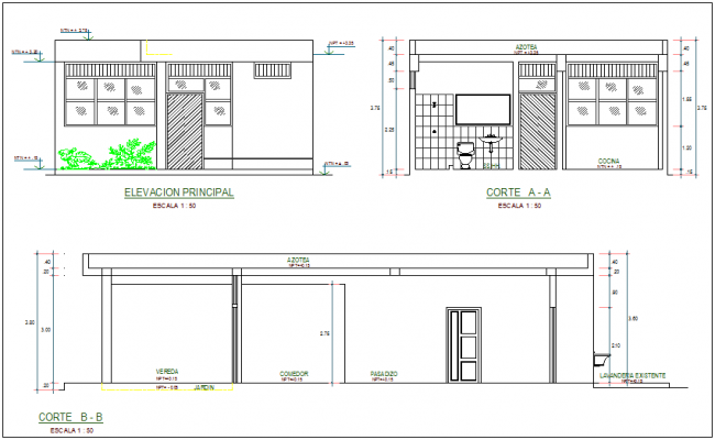 Elevation & sectional view of building, necessary dimension dwg file