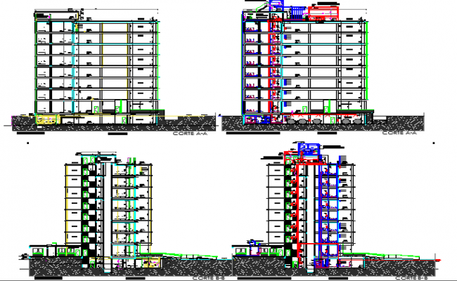 Elevation and sectional view of corporate building dwg file