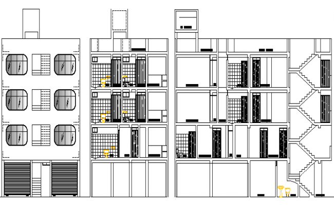 Elevation and sectional view of multi-flooring housing building dwg file