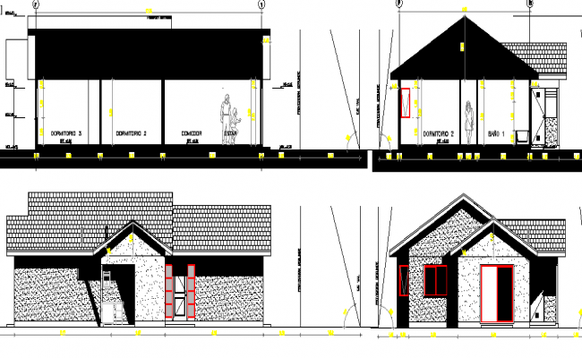 Elevation and sectional view of single family house dwg file